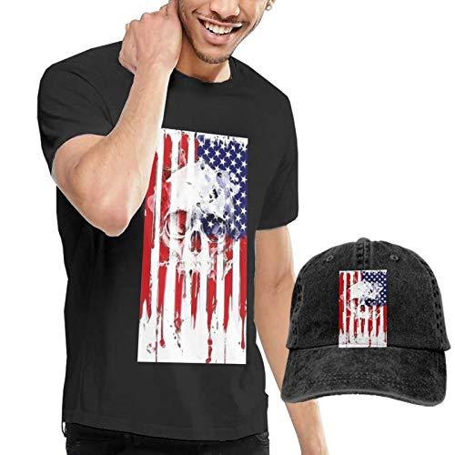Onita T-shirt de sport à manches courtes pour homme Motif drapeau américain et tête de mort Taille 3XL Noir