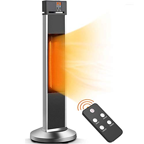 Patio Heater-Trustech Space Heater Infrared Heater w/Remote, 24 Timing Auto Shut Off Radiant Heater, 500/1000/1500W, Super Quiet 3s Instant Warm Vertical Electric Heater for Big Room Backyard