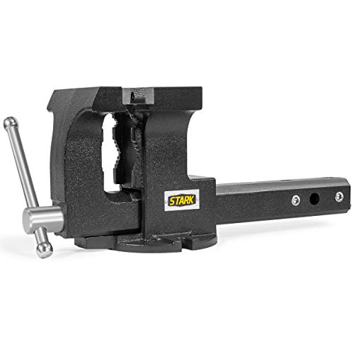 """Stark 2-in-1 Tow Hitch Truck Vise 6"""" Bench Vise Fits 2"""" Hitch Receiver w/Built-in Bench Mount Trailer, Grey"""