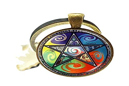 Astrología Pentagrama Art Photo Llavero de cristal para hombres y mujeres