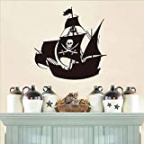 Cool Pirate Ship Wall Stickers Nursery Creative Cartoon Wall Decor Waterproof Vinyl Adhesive Wall 44cmX44cm