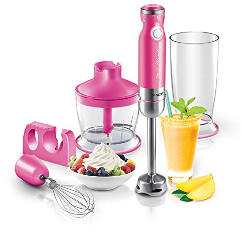 Sencor Ultra Quiet and Thin Stainless Steel Stick Blender with Variable Speed Control and Accessories, Small, Pink