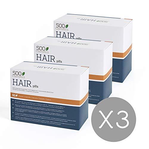 500Cosmetics Hair- Cápsulas Naturales para Prevenir y Evitar la Caída del Pelo con L-Cysteine y Zinc - Mejora el estado del Cabello y Aporta Nutrientes - Para Hombre y Mujer. (3)