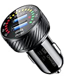 KEWIG USB Car Charger, Dual QC3.0 Port Fast Car Charger Adapter, 36W/3A Quick Charge Car Phone Charger with Colorful Voltmeter & ON/Off Switch Fit for iPhone 12/11 Pro/Max/8, Galaxy S21/20/10/9