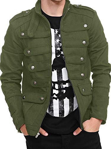 Hestenve Mens Gothic Military Jackets Casual Band Steampunk Vintage Stylish Coat with Pockets (Medium, Green)