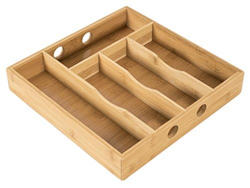 elbmöbel Besteckkasten Küchenorganizer aus Bambus 30 x 30 x 5 cm Schubladeneinsatz mit 5 Fächern für Besteck, Schmuck – der perfekte Schubladenorganizer aus stabilem Holz, natur
