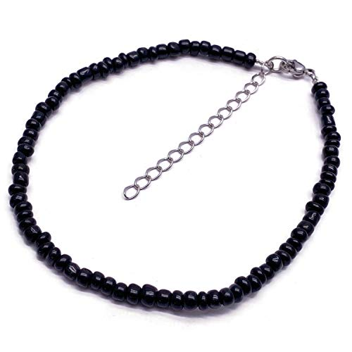 Vilda Jewellery Black Glass Seed Bead Anklet with Extension Chain - Adjustable Size : 9-11 inches