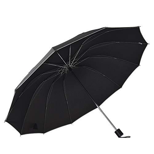 125 cm de grande taille 12 os masculin féminin business parapluie ombrelle ensoleillée parapluie 3 pliable créatif parapluie, Noir (Noir) - 9999