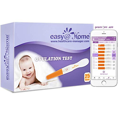 Easy@Home 25 Ovulation Predictor Kit Test Sticks, FSA Eligible Midstream Fertility Tests, Powered by Premom Ovulation Predictor App and Period Tracking Free iOS and Android App, 25 LH Tests