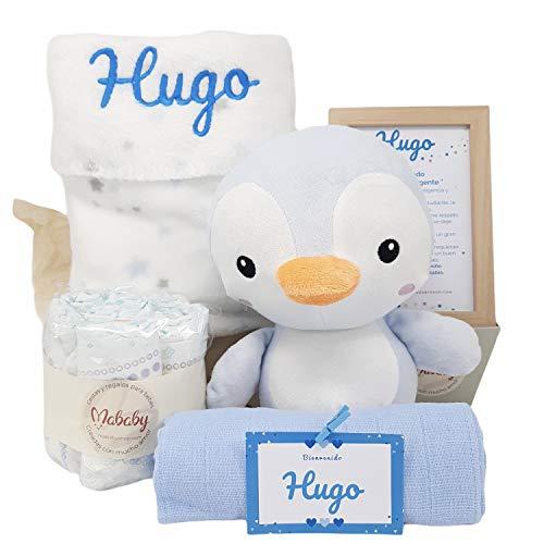 Pingu de Mababy - Canastilla Personalizada Bebé - Regalo para Recién nacido - Cesta de Bebé Personalizada - Set regalo para Bebé (Azul)
