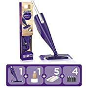 Swiffer WetJet Wood Balai Spray, Kit complet 1 Balai Spray + 5 Lingettes + 1 Solution Nettoyante Liquide + 4 Piles