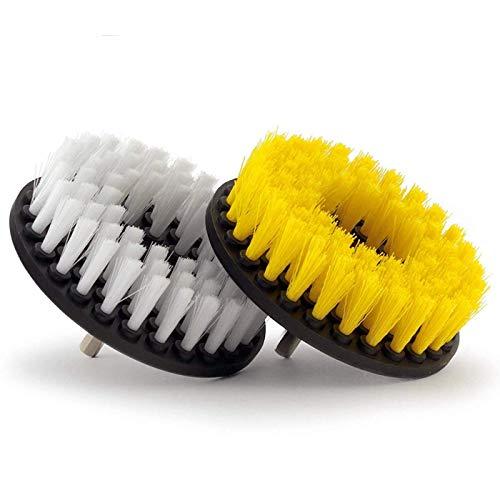 ZANYUYU Cepillo de taladro suave y mediano de 2 piezas, cepillo para limpieza de duchas, bañeras, baños, azulejos, lechada, alfombra, neumáticos, barcos.