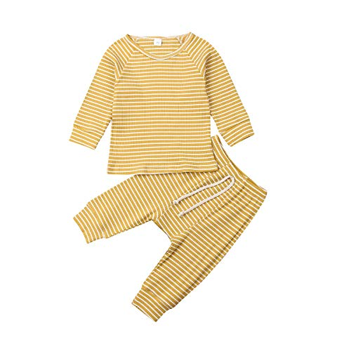 LUOTIAN-0 ropa de bebé unisex recién nacido trajes de manga larga acanalada ropa de dormir 2 piezas conjunto de pijamas - Amarillo - 12 -18 meses