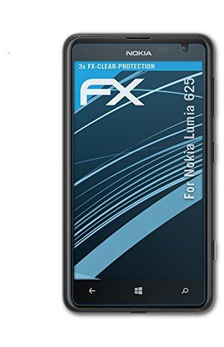 atFolix Schutzfolie kompatibel mit Nokia Lumia 625 Folie, ultraklare FX Bildschirmschutzfolie (3X)