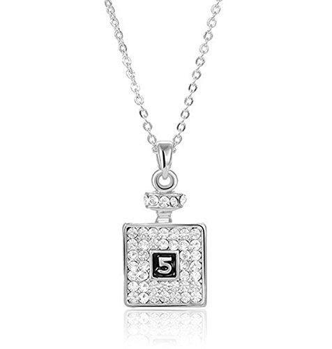 2LIVEfor Kette mit Anhänger Flasche Flacon Glitzer Silber Halskette Quadratisch mit Österreichischen Kristallen Zahlen 5 Halskette Strass Elegant