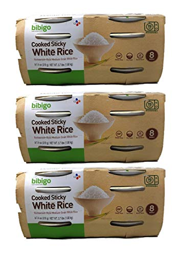 Bibigo Restaurant Style Gluten Free Cooked Sticky White Rice Bulk Pack of 3 Boxes - 8 Rice Bowls Per Box - 24 Rice Bowls Total - Over 10 lbs of Gluten-Free Microwaveable White Rice