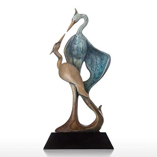Zjcpow Escultura de metal Adornos de doble grúa Escultura de bronce Forma estética Escultura animal Cobre Grúa Oficina