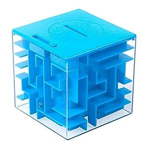 Twister.CK Money Maze Puzzle Box, Maze Money Bank Holder Puzzle para niños y Adultos Cumpleaños Navidad, una Forma Divertida de Regalar un pequeño Regalo navideño de Navidad (Azul)