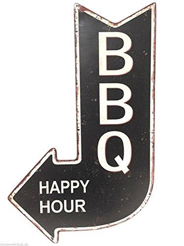 Blechschild Dekoschild Schild BBQ Happy Hour Grillen Pfeil Antik Stil 40x25 cm