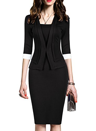 WOOSEA Women's 2/3 Sleeve Colorblock Slim Bodycon Business Pencil One-Piece Dress (Black, Small)