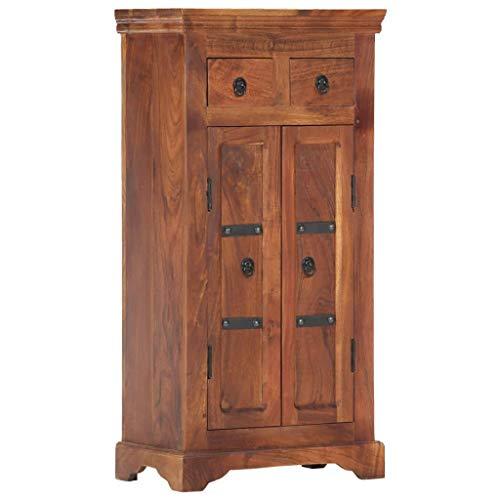 vidaXL Akazienholz Massiv Sideboard mit 2 Türen 2 Schubladen Mehrzweckschrank Kommode Anrichte Schrank Beistellschrank Standschrank 50x30x100cm