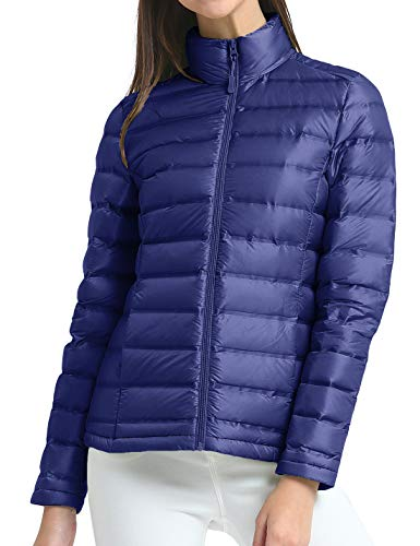Leichte Daunenjacke Damen Ultraleichte Winterjacke Steppjacke Packbar Puff Größe XL Navy blau