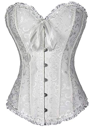 THEE Women's Gothic Bustiers Corsets Satin Boned Lace Up Overbust Lingerie, A-white, S