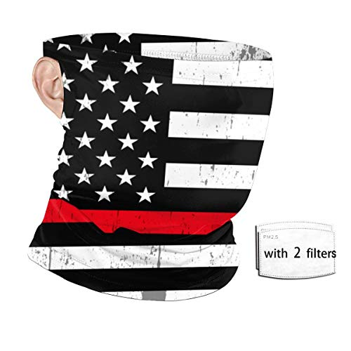 Red Line Firefighter American Flag Anti Dust Windshield Neck Gaiter Elastic Face Cover Scarf Headwrap Balaclava for Outdoors