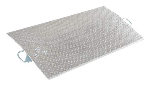 """Vestil E-4824 Aluminum Economizer Dock Plate, 5,200-lb. Capacity, 24"""" Length, 48"""" Usable Width, 3"""" Height Difference, 3/8"""" Plate Thickness"""