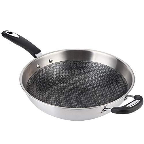 Pentola antiaderente, Wok a fondo piatto in acciaio inossidabile 34 cm, padella antiaderente per wok antiaderente antigraffio per piano cottura a induzione, stufa a gas, stufa elettrica in ceramica