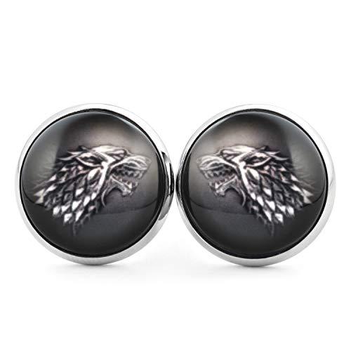 SCHMUCKZUCKER Damen Herren Unisex Ohrstecker Motiv Schattenwolf Edelstahl Ohrringe Grau Schwarz Silber 14mm