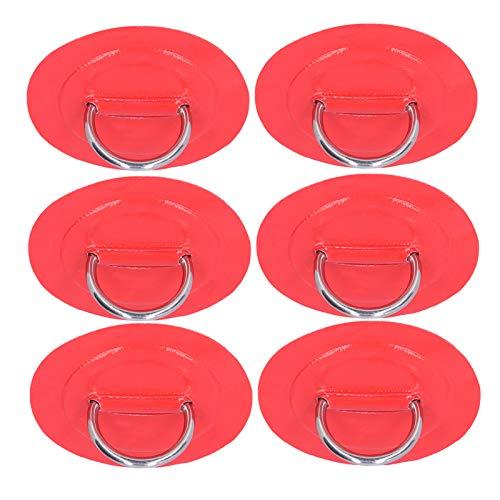 VGEBY Almohadilla de Anillo en D para Barco, 6 Piezas de Parche de Anillo en D para Kayak Inflable Resistente a la oxidación para Bote Inflable de PVC, balsa, Bote, Kayak, Canoa(Rojo)