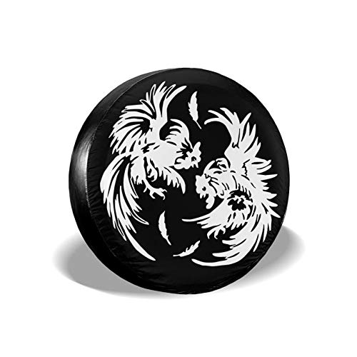 Roosters Fighting Universal 14'-17' Spare Tire Cover Fit for Jeep, Trailer, Rv, Car, Truck Wheel