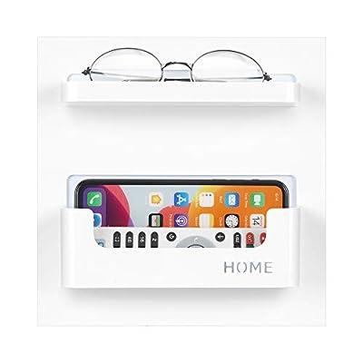 7U Bedside Shelf Organizer, Adhesive Stick on Wall Mounted Bedside Shelf for Phone, Glasses, Remote in Dorm Bedroom - White (2 Holder) by 7U