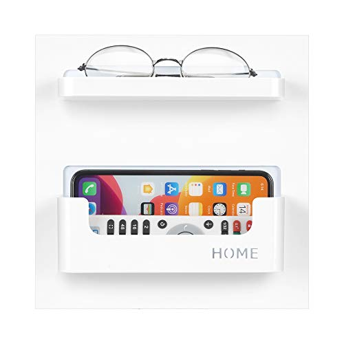 7U Bedside Shelf Organizer, Small Adhesive Stick on Wall Mounted Shelf for Phone, Glasses, Remote in Dorm Bedroom - White (2 Holder)