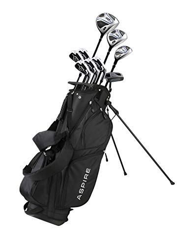 Aspire XD1 Men's Complete Golf Clubs Package Set Includes Titanium Driver, S.S. Fairway, S.S. Hybrid, S.S. 6-PW Irons, Putter, Bag, 3 H/C's Right Hand - BLUE - Choose Size! (Tall Size +1