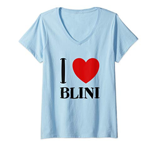 Damen I Love Blini Russische Pfannkuchen Pfanne Russia Russland T-Shirt mit V-Ausschnitt