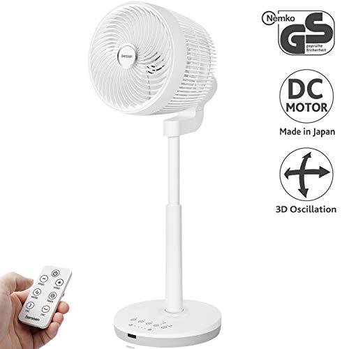 berssen Standventilator Ventilator leise 25dB 3D Oszillation DC Motor höhenverstellbar Turbo Luftzirkulation Fernbedienung Tastbildschirm Kinderschutzschloss 6,9m/s Windgeschwindigkeit Energie Sparen
