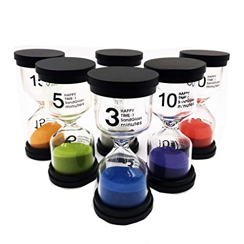 Lomsarsh Temporizador de arena, temporizador de reloj de arena de 6 colores 1 min / 3 min / 5 min / 10 min / 15 min / 30 min, para temporizador de cocina y medidor de horas de estudio
