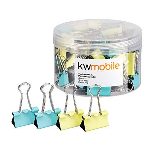 kwmobile Set de 50 Clips para la oficina casa escuela - Pinzas para papel de metal- 25MM - Amarillo y azul menta