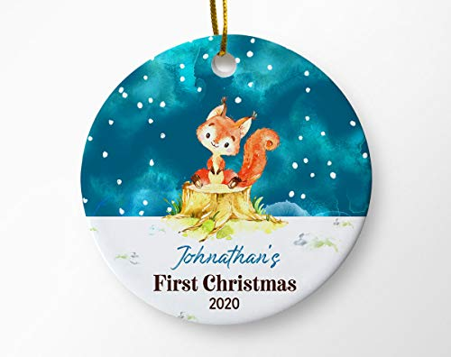 Lplpol 3 Inch Personalized Baby's First Christmas Ornament Baby Boy Ornament Baby Keepsake Gift Newborn Christmas Baby Fox Ornament Christmas Ornament Tree Holiday Ornament