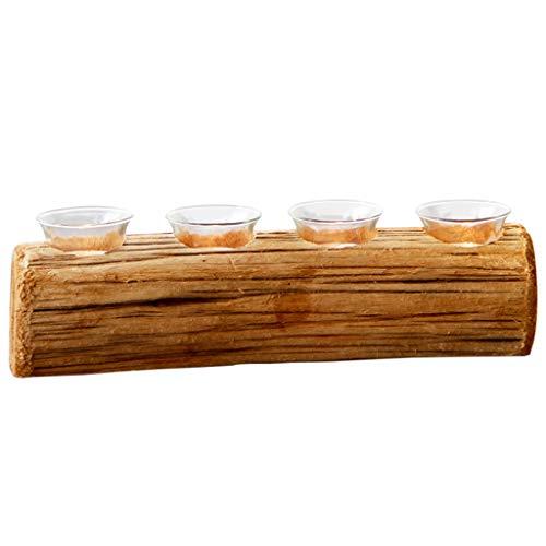 perfk Candelabro de Madera Natural con 4 Agujeros para Decoración de Bodas Tea Light - 5 Cm
