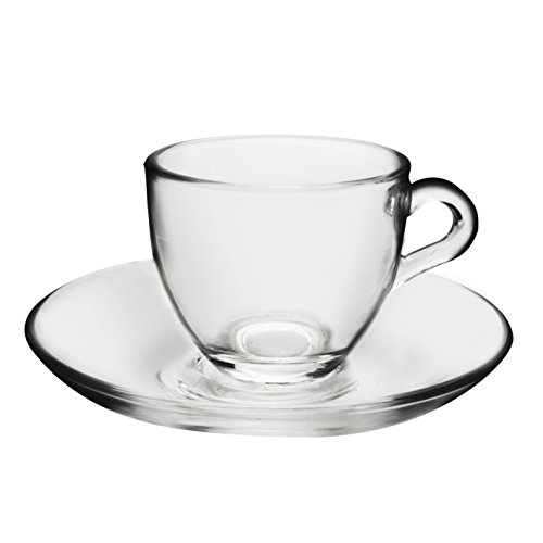 Pasabahce 66929 Set 6 Tazzine caffè con Piatto Vetro Basic Arredo Tavola, Trasparente,