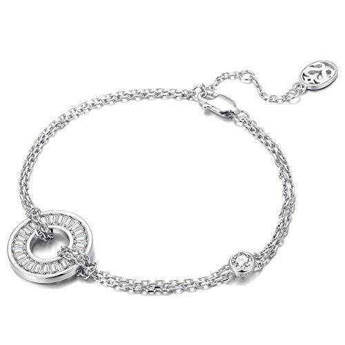 SISMIURRA S925 Pulsera de cadena de plata para mujer Colgante de círculo de moda con cristales de circonio cúbico Regalo de cumpleaños