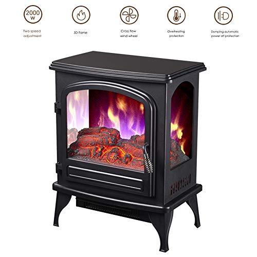 Elektrische open haard met ventilatorkachel 2000 W elektrische haard elektrische verwarming LED haardvuur effect kachel 3D vlammeneffect verwarmer oven geluidsarm regelbaar zwart