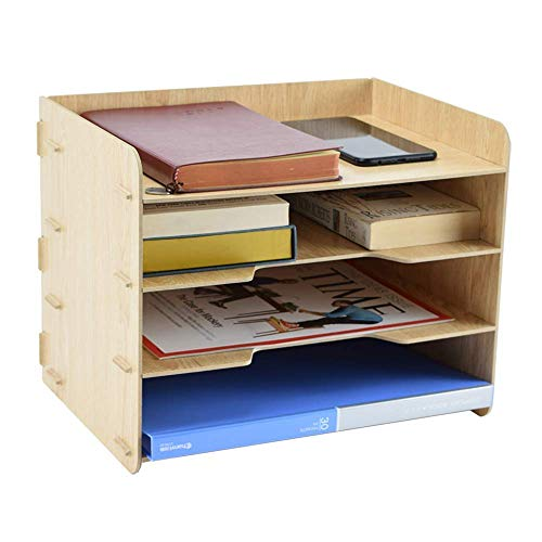 YiShan Letter Tray Organizer/ 4Tier Desk Organizer Trays for Students/File Holder for Desktop/School & Office Supplies Organizer and Storage /A4 Paper Rack/Plywood