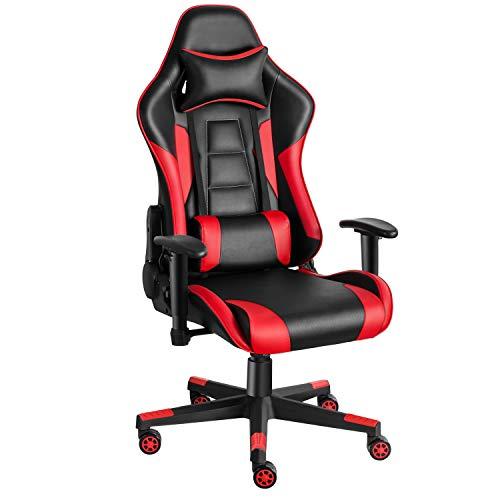 Twomaples Gaming Stuhl, Racing Computerstuhl Ergonomischer Bürostuhl, Drehbar Höhenverstellbar Gaming Chair, PC Stuhl mit Kopfstütze, 150 KG Belastbarkeit (Schwarz/Rot)