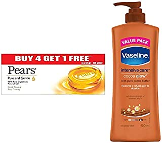 Pears Pure And Gentle Bathing Bar, 125g (Pack Of 5) & Vaseline Intensive Care Cocoa Glow Body Lotion, 400 ml