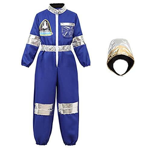 De Buena Calidad Nios Astronauta Disfraces Spaceman Mono Vuelo Vuelo Disfraz con Casco Astronauta Juego de rol Conjuntos Nios Nias Cosplay, azul, L