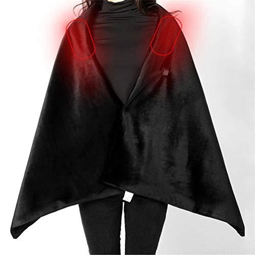 SONNIGPLUS Mantón calentado con USB Negro, Chal cálido Chales para Mujer Manta calefactada eléctrica Lavable Bufanda calefactora de Fibra de Carbono, para automóviles, sofás, sillas